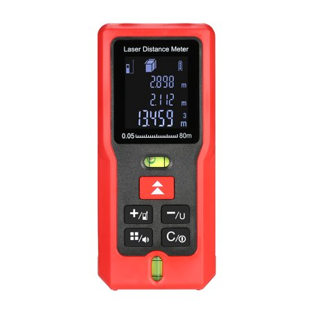 80m/262ft m/in/ft Mini Handheld LCD Digital Laser Distance Meter with 2 Bubble Levels Range Finder Diastimeter Distance Area Volume Measurement (Handheld Laser Level)