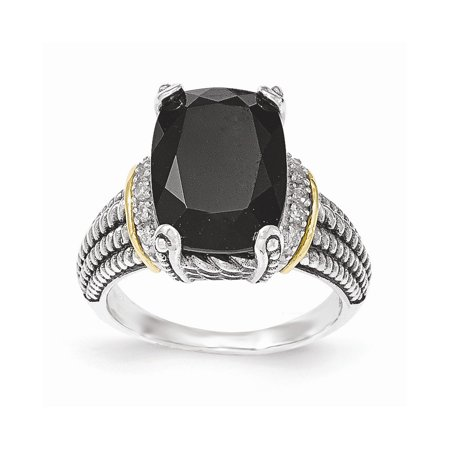 Solid 925 Sterling Silver with 14k Gold Black Simulated Onyx & White Diamond Ring - Size 6