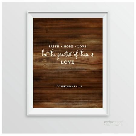 Corinthians 13 13 - Faith Hope Love Biblical Quotes Rustic Wood Wedding Signs - Rustic Weddings