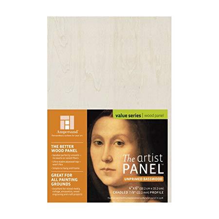 "Ampersand Art - Artist Panel - Unprimed Basswood - Cradled - 7/8"" Profile - 4"" x 6"""