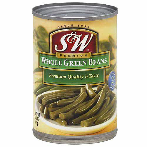 S&W Premium Whole Green Beans, 14.5 oz (Pack of 6)
