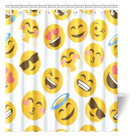 POP Funny Emoji Shower Curtain, Cartoon Like Smiley Faces of Mosters Happy Sad Angry Furious Moods Expressions Bathroom Set 66x72 inch - image 2 of 2