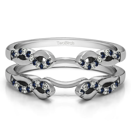 Chopard Diamond Ring Design (Diamonds (G,I2) and Sapphire Mounted in Sterling Silver Infinity Designed Wedding Ring Enhancer)