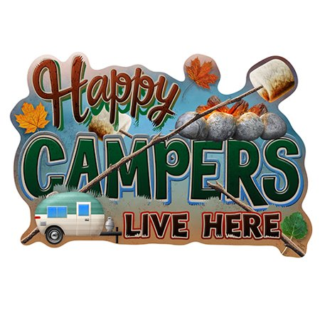 Happy Campers Live Here [3 Pack] of Vinyl Decal Stickers | 5