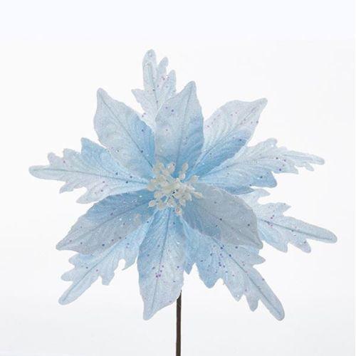 Kurt Adler BLUE GLITTERED POINSETTIA PICK