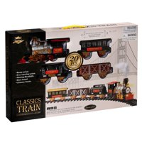 Children's Interactive 20 PCS B/O Classic Toy Railway Train Set with Light and Smoke, Huge Size with 12 PCS Curved Track & 4 PCS Straight Track
