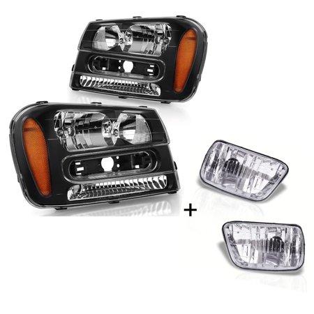 for 2002-2009 Chevy Trailblazer SUV Black Housing Amber Corner Headlight + Clear Bumper Fog