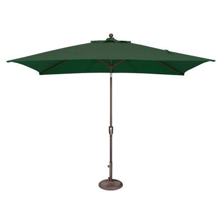 SimplyShade 6 x 10 ft. Rectangle Push Button Tilt Market Umbrella  Forest Green ()