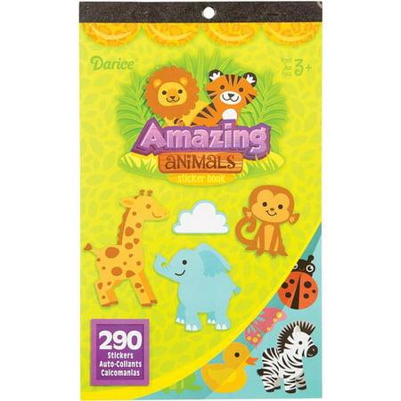 Darice 3000-7220 9.5 x 6 in. Sticker Book - Amazing Animals, 290 per Pack
