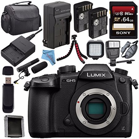 Panasonic Lumix DC-GH5 DC-GH5KBODY Mirrorless Micro Four Thirds Digital Camera + DMW-BLF19 Battery + Charger + Sony 64GB SDXC Card + Carrying Case + Fibercloth + Tripod + Flash