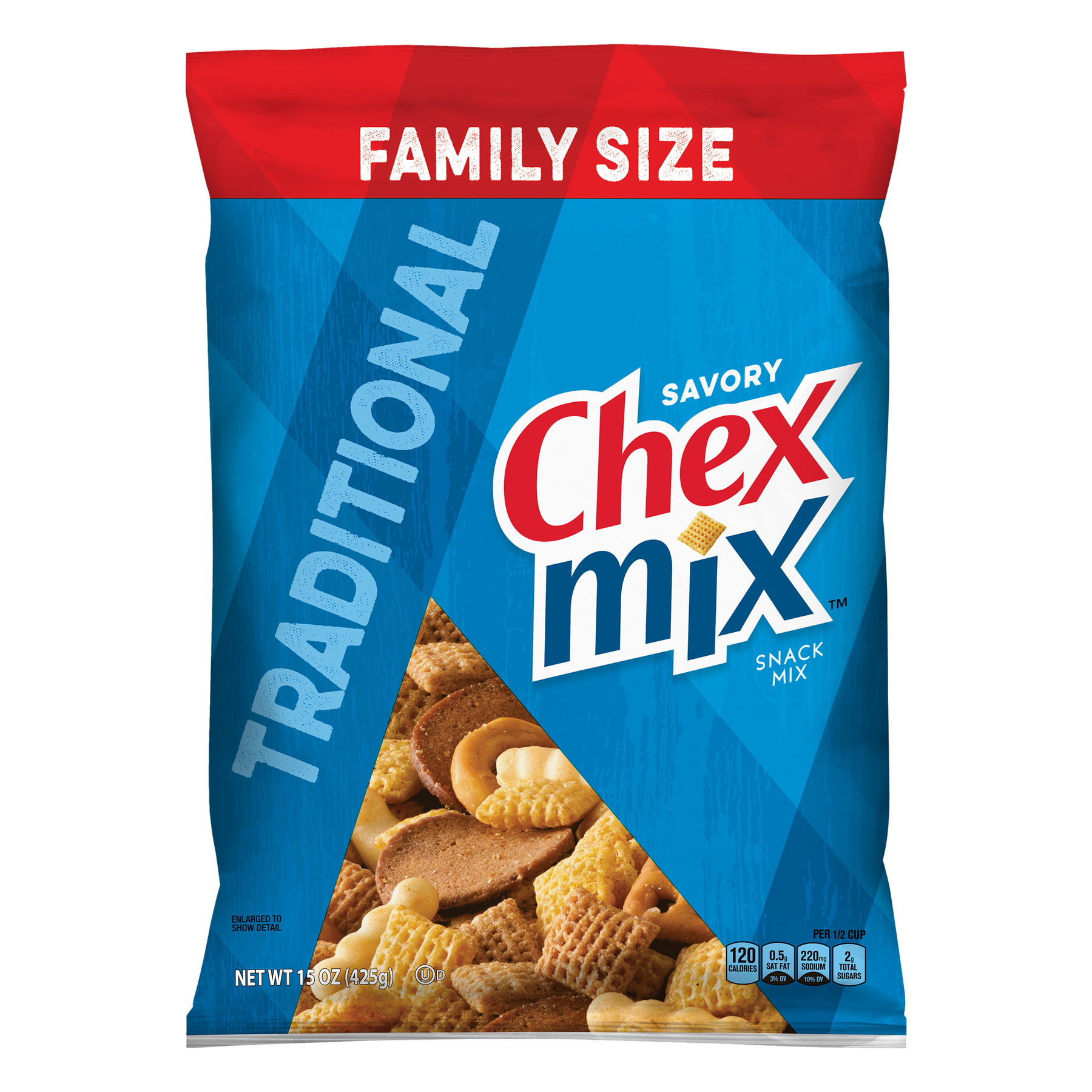 Chex Mix Traditional Savory Snack Mix, 15 oz Bag