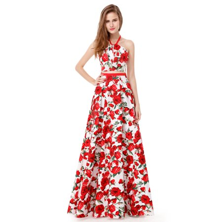 344c863d85 Ever-pretty - Ever-Pretty Womens Elegant Floral Print Crop Top Long Skirt  Set Formal Evening Prom Homecoming Graduation Party Gown for Women 08969 US  4 ...