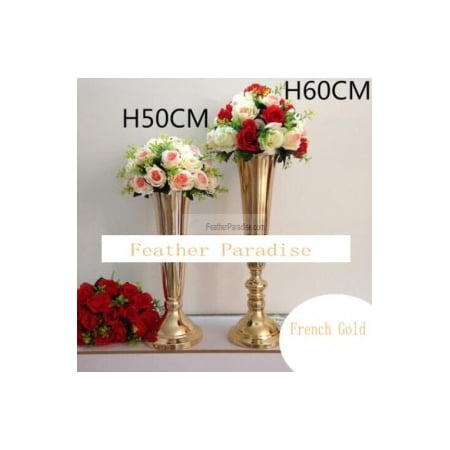 Gold Polished Metallic Trumpet Vases Wedding Centerpieces Vases French Gold-24 inches](Gold Vases)
