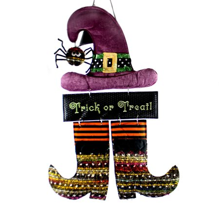 Halloween WITCH BURLAP DOOR DECOR Spider Hat Boots Trick Or Treat - Cute Halloween Treats For Classroom