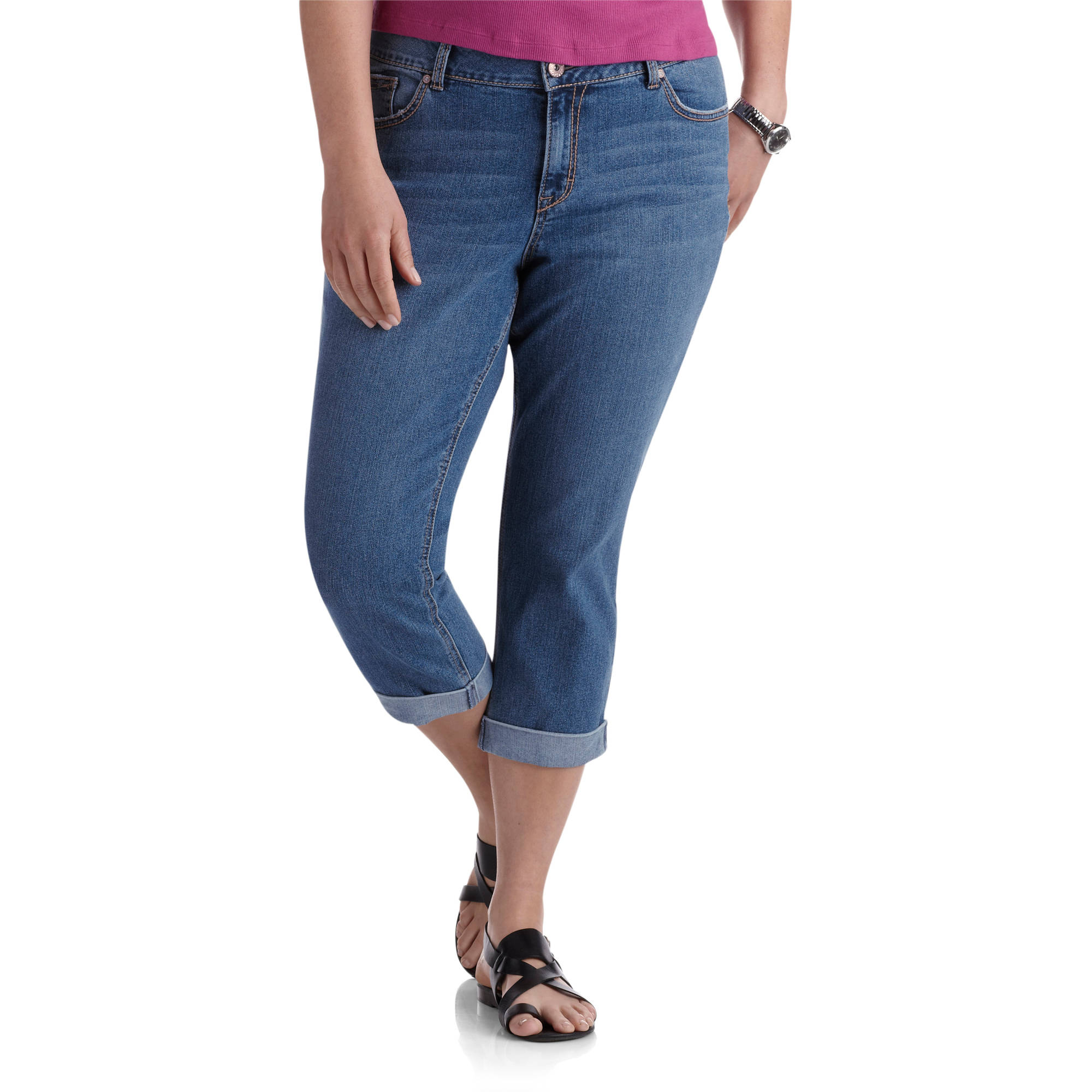 Jordache Women's Plus-Size Cuffed Denim Crops