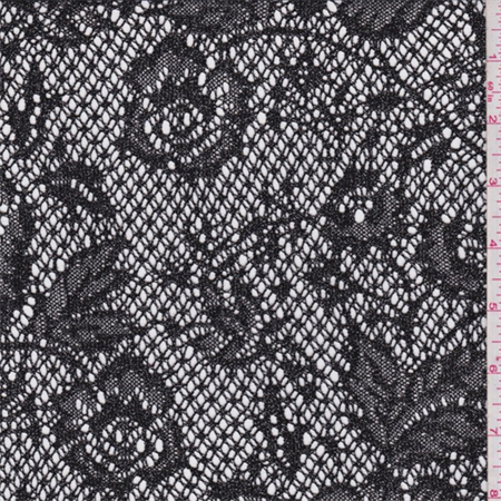Black/Silver Floral Nylon Lace, Fabric By the Yard