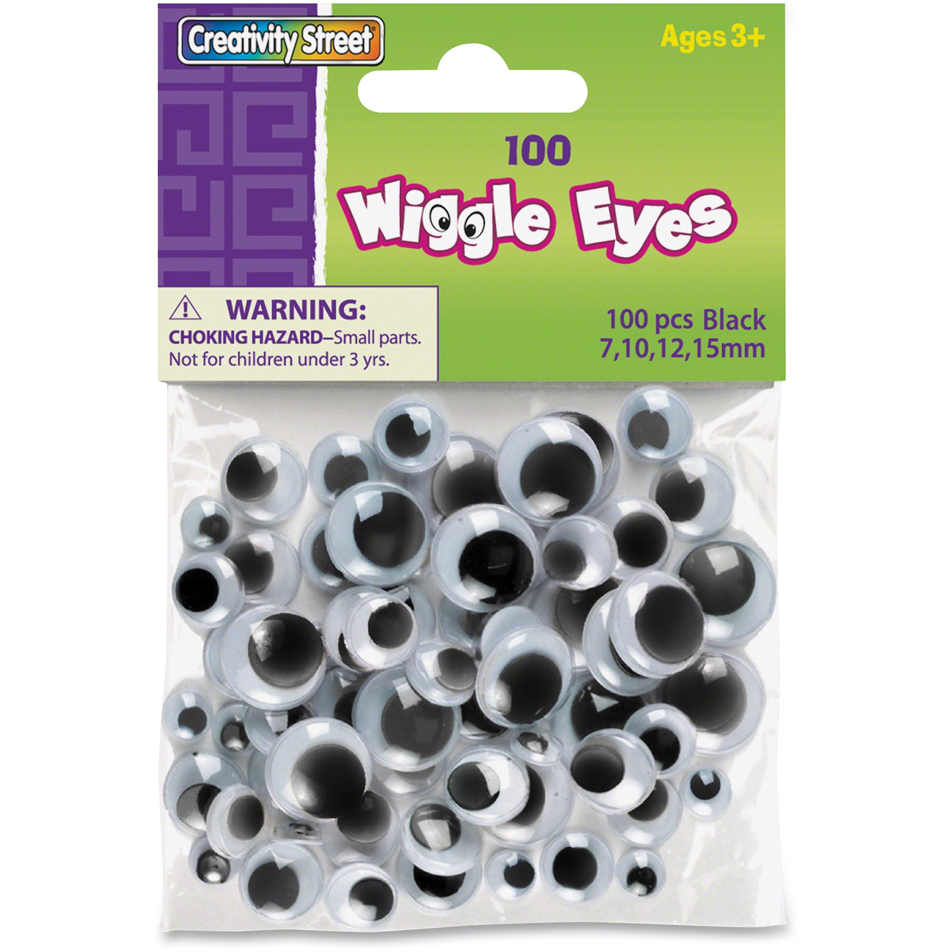 Creativity Street 100-pc Assorted Size Wiggle Eyes, Black, 100 / Pack (Quantity)