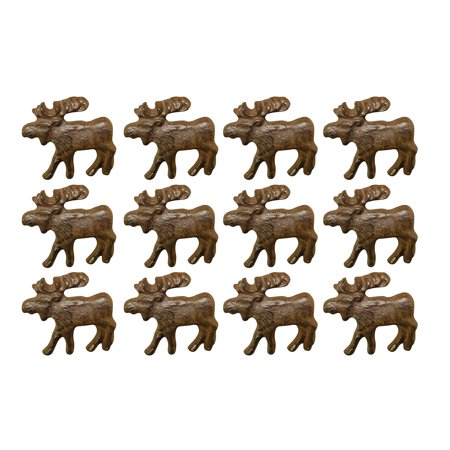 Rustic Brown 12 Piece Cast Iron Moose Drawer Pull