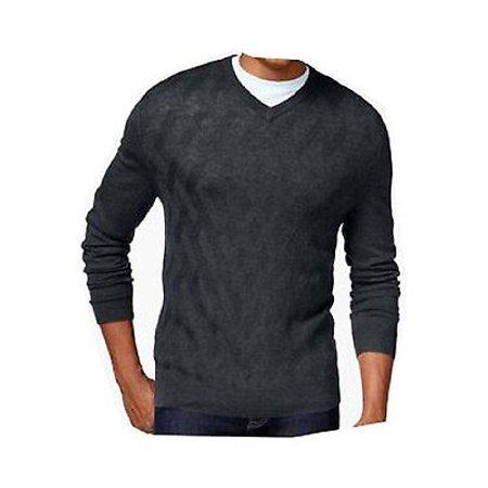 New  3144 Club Room Mens Ebony Heather Grey Merino Wool Knit V-Neck Sweater Large $89