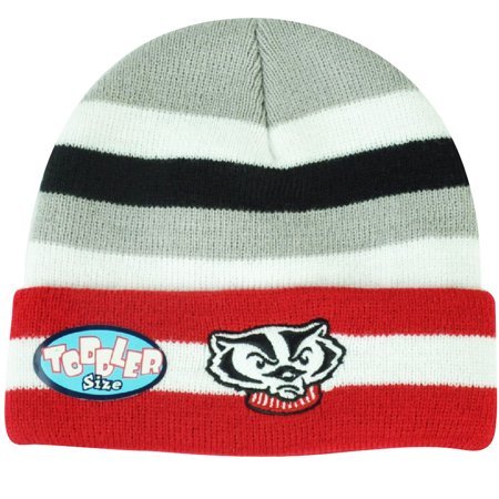 Wisconsin Badgers Ncaa Stripes - NCAA Wisconsin Badgers Striped Cuffed Knit Beanie Toddler Toque Winter Game Day
