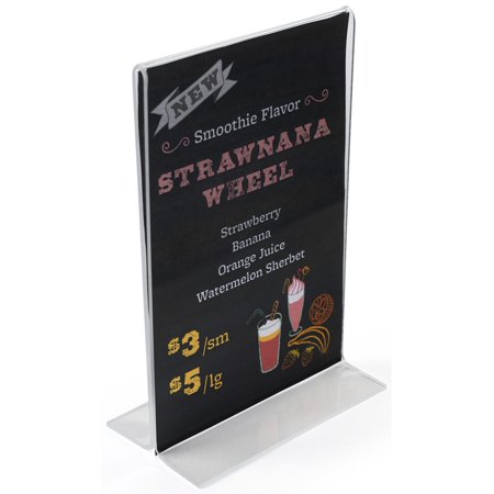 "Menu Card Holder 4""w x 6""h x 2""d Clear Acrylic Picture Frame for (2) 4""w x 6""h Images – Sold in Case Packs of 25 Units – Plexiglas Countertop Photo Display Loads Graphics from the Bottom (VSH46)"