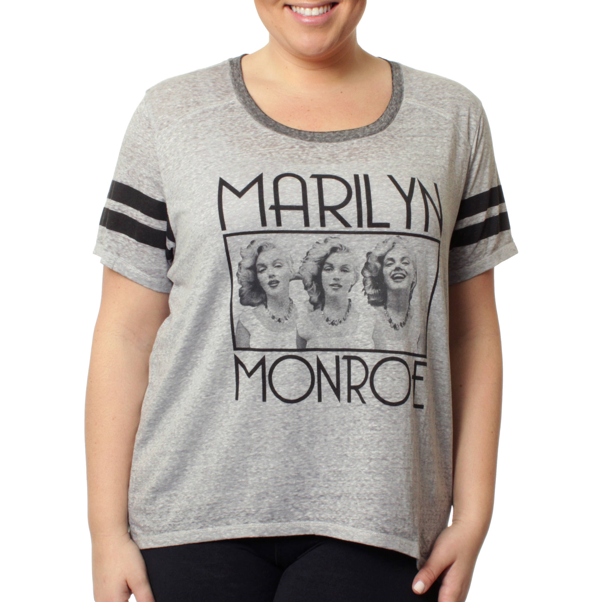 Marilyn Monroe Womens Plus Sporty Athletic Burnwash with Sleeve Stripes Tee