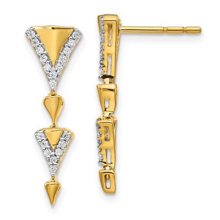 14K Yellow Gold Diamond Fancy Post Dangle Earrings (0.2Ct)