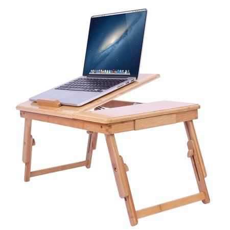 Zimtown Nature Bamboo Folding Laptop Computer Notebook Table Bed Desk Tray (Best Laptop Lap Desk)