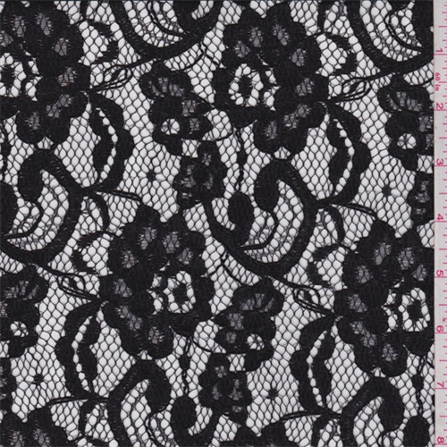 Jet Black Floral Lace, Fabric By the Yard