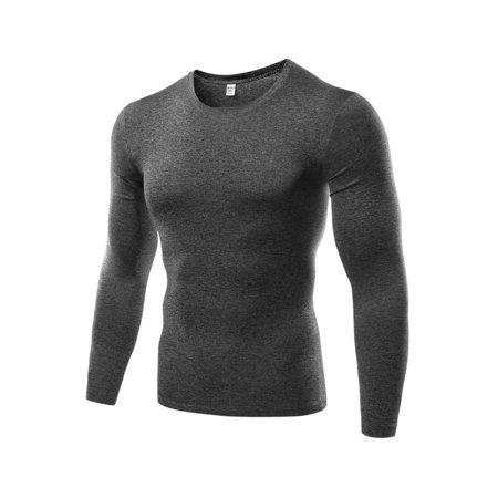 Skin Long Sleeve Compression Shirt - Men Quick Dry Compression Base Layer Skin Tight Long Sleeve Gym Sport T-shirt