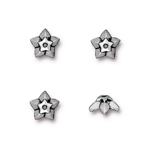 Antiqued Silver Plated Lead-Free Pewter Star Bead Cap 8 X 3.5mm (4)