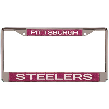 Pittsburgh Steelers Pink Glitter License Plate Frame with White Lettering - No