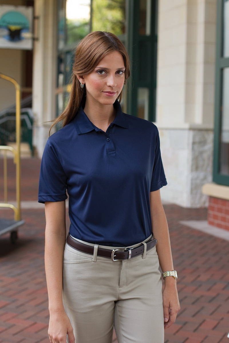 Whispering Pines Sportwear 361 Womens 100 Percent Polyester Performance Polo Shirt44; Navy44; 2XL