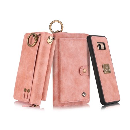 Galaxy S8 Wallet Case, Allytech Girls Women Magnets Detachable Zipper Wallet Case Cover PU Leather Folio Flip Holster Carrying Case Card Holder for Samsung Galaxy S8, Pink - Cave Women