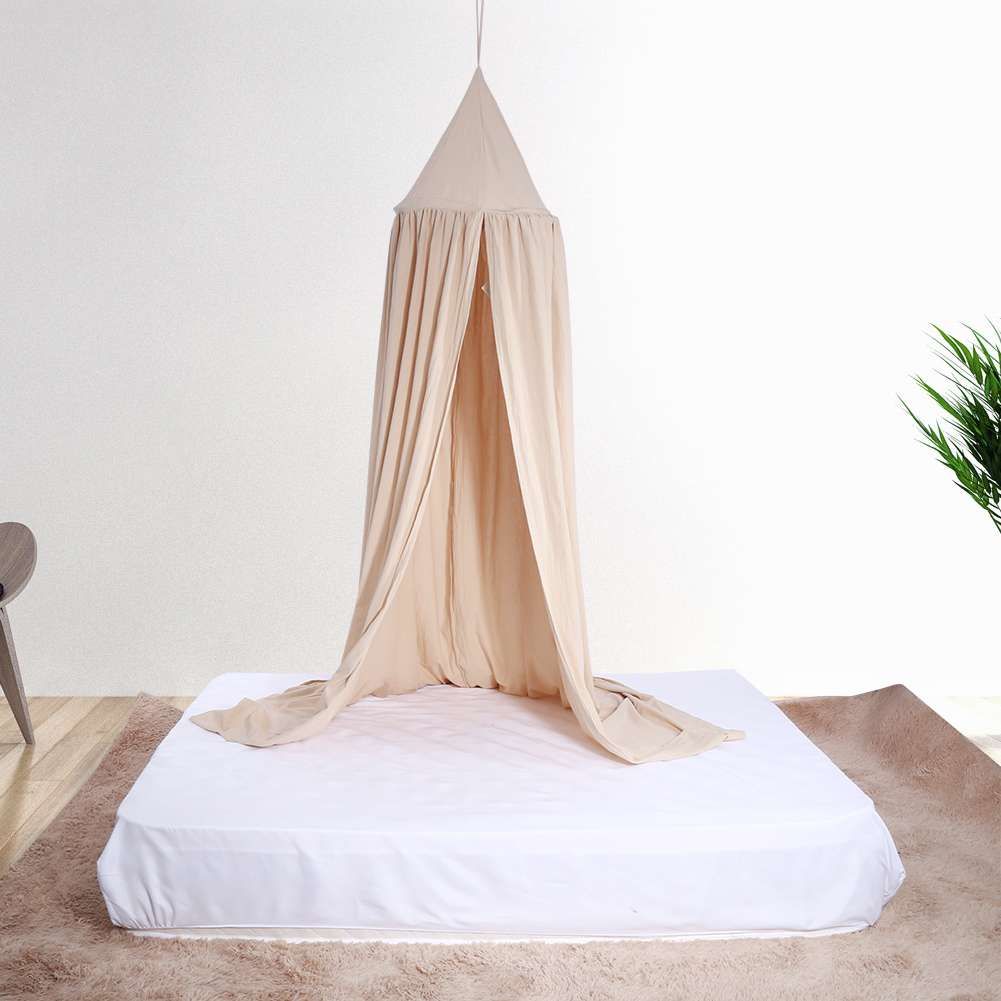 HERCHR Hanging Bed Canopy Drapery Crown Portable Cotton Mosquito Net Bed Netting Stand Tent for Single to King Size Baby Kids Adult Beds Round Dome Play Tent, 7.7ft