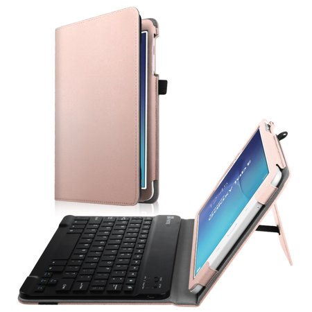 Fintie Case for Samsung Galaxy Tab E 9.6 Tablet - Smart Slim Shell Cover with Removable Bluetooth Keyboard, Rose Gold ()