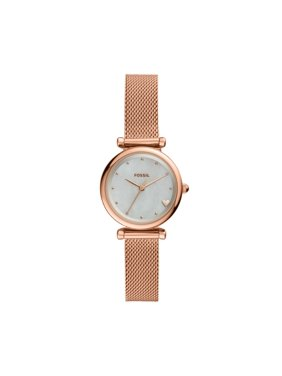 Fossil Women's Carlie Mini Three-Hand Rose Gold-Tone Stainless Steel Watch, ES4505
