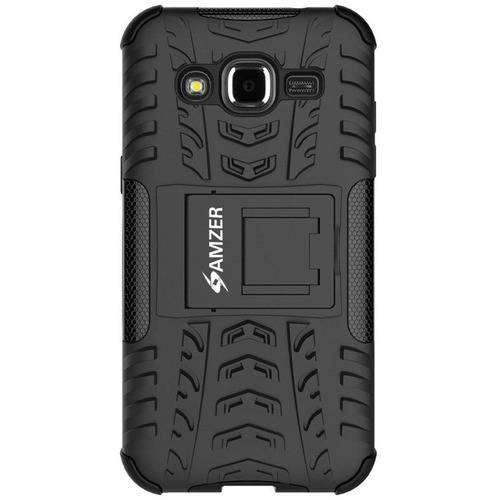 Amzer Impact-Resistant Hybrid Warrior Case for Samsung Galaxy J2 SM-J200F, Black