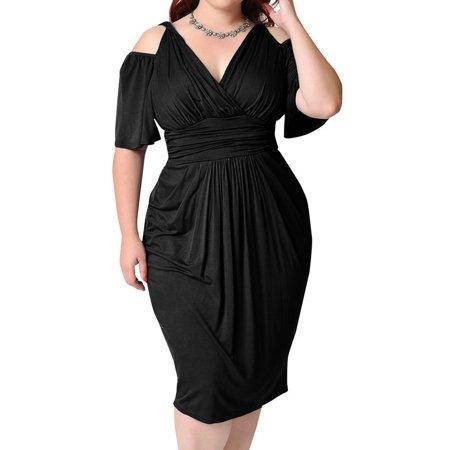 AKFashion Women\'s Deep V Neck Cold Shoulder Ruffle Midi Dress Formal  Coctail Plus Size Dress