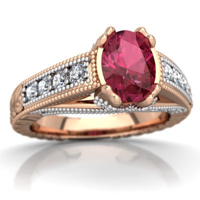Pink Tourmaline Antique Style Ring in 14K Rose Gold