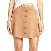 Jolt NEW Brown Size 3 Junior A-Line Perforated Button Faux-Suede Skirt