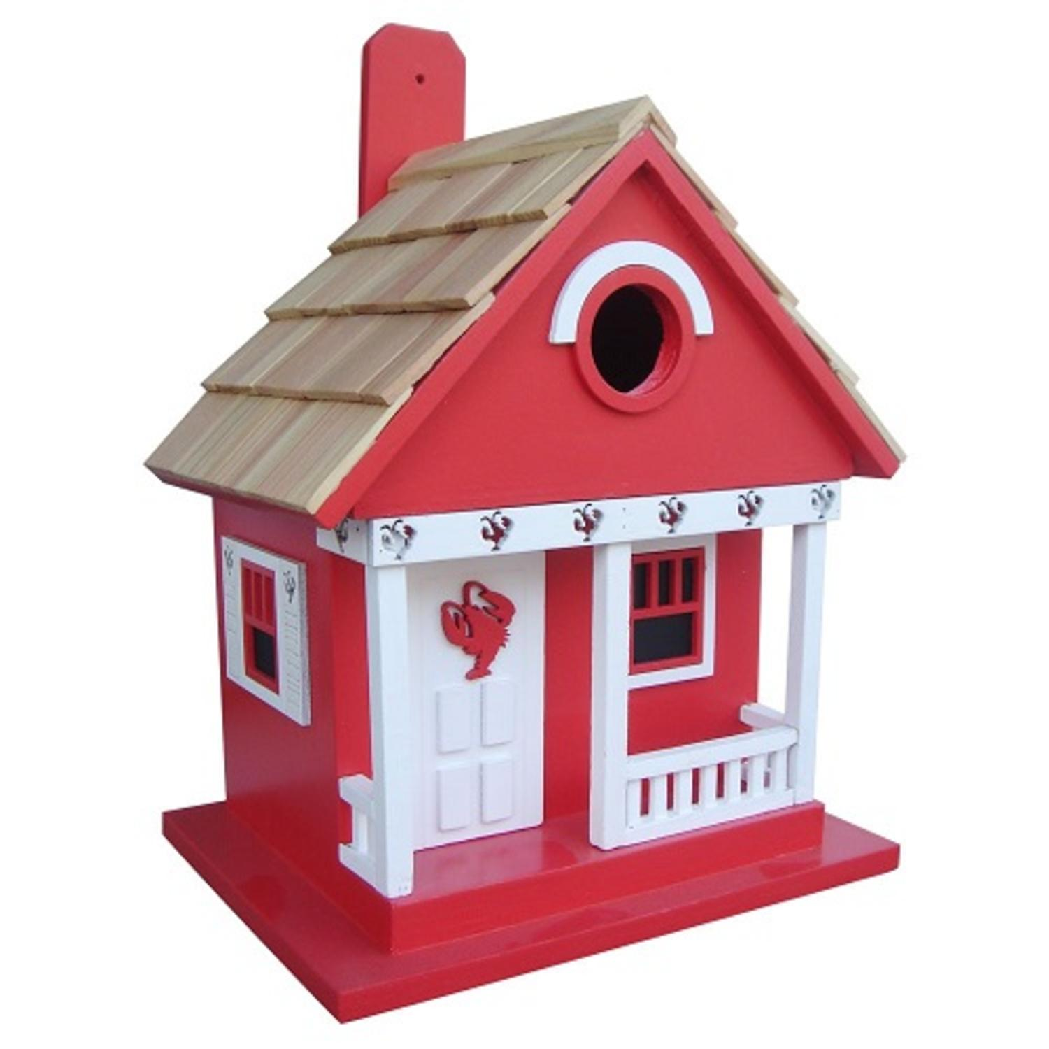 """9.5"""" Fully Functional Red Lobster Whimsy Cottage Outdoor Garden Birdhouse"""