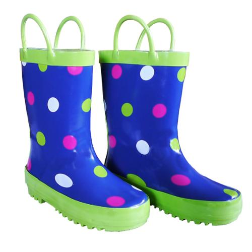 Blue Polka Dots Toddler Girls Rain Boots 7