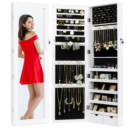 Best Choice Products Mirrored Lockable Cabinet Armoire Organizer w/ Door Hanging Hooks, Wall Mount, Keys - White Closet Surface Wall Mounted Jewelry