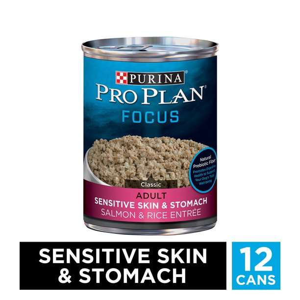 (12 Pack) Purina Pro Plan Sensitive Stomach Pate Wet Dog Food, FOCUS Sensitive Skin & Stomach Salmon & Rice Entree, 13 oz. Cans
