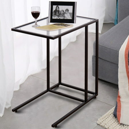 Costway Coffee Tray Side Sofa End Table Ottoman Couch Stand TV Lap Snack W/Glass Top New ()