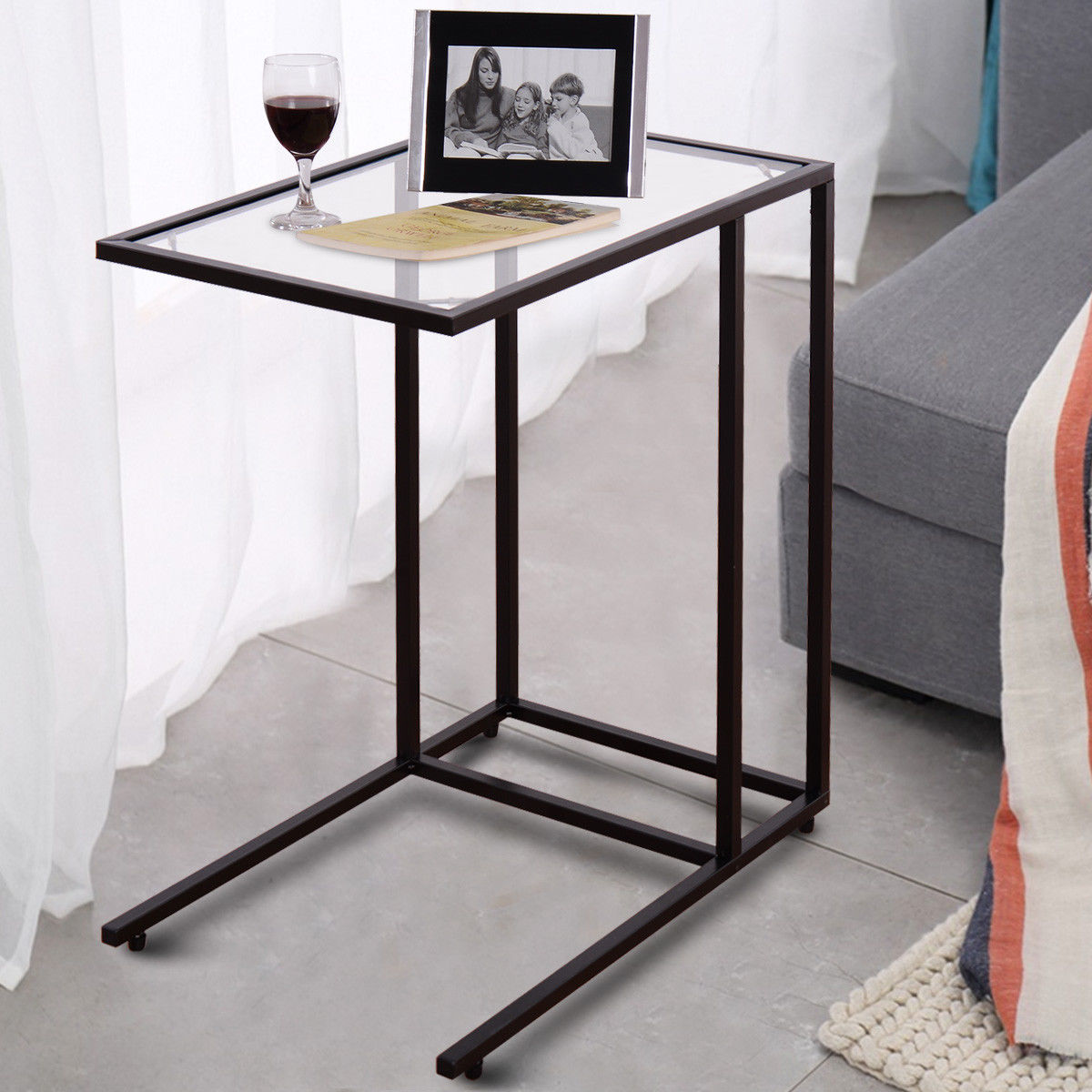 Costway Coffee Tray Side Sofa End Table Ottoman Couch Stand TV Lap Snack  W/Glass