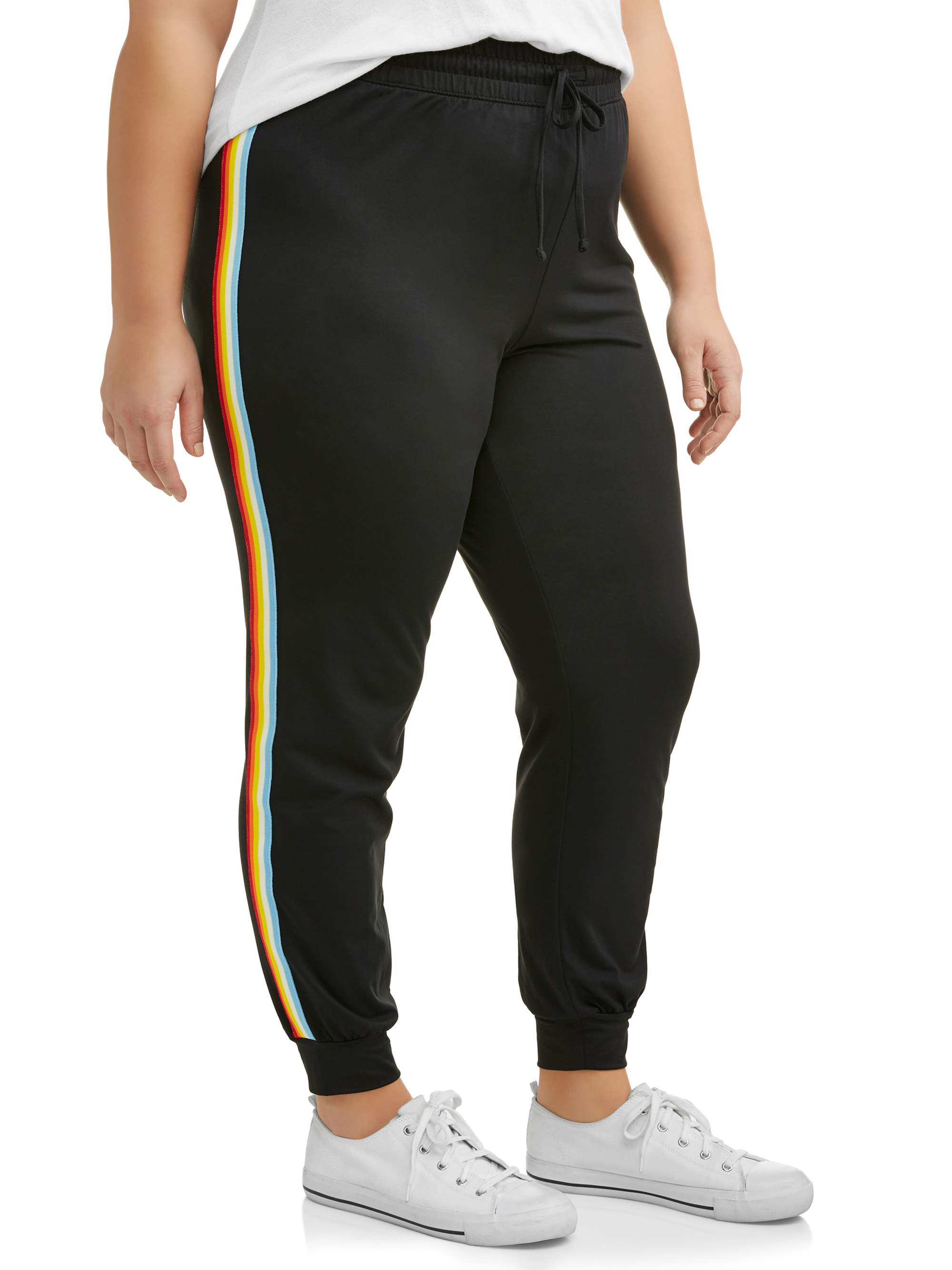 66f40c052a7 Eye Candy - Juniors  Plus Size Super Soft Brushed Joggers with Varsity  Stripe - Walmart.com