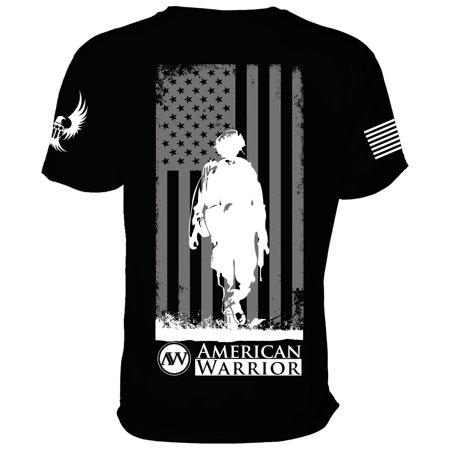 - American Warrior Womens DownRange V-Neck Shirt (Unisex Sizing) in Black, Supporting Patriots, Military, Veterans, Made in the USA