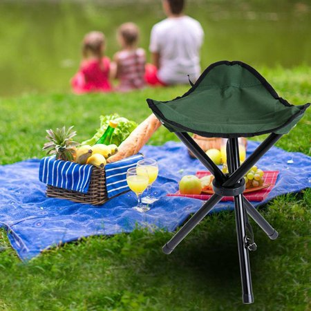 Outdoor Portable Lightweight Tripod Three Feet Folding Green Chair Camping Hiking Fishing Picnic Garden BBQ